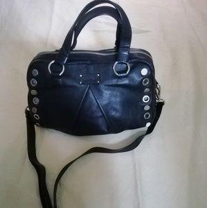 Calvin Klein black leather satchel handbag
